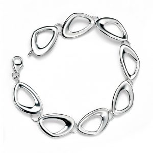 Sterling Silver Cut Out Pebble Shape Linked Bracelet