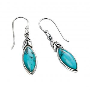 sterling silver natural turquoise leaf shape earrings
