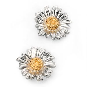 Sterling Silver Daisy Stud Earrings with Gold Detail