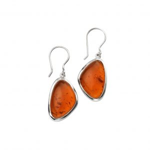 sterling silver abstract pressed amber dangle earrings