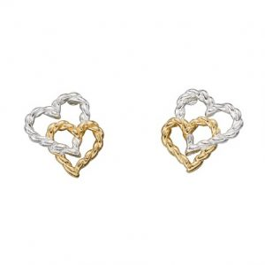 Sterling Silver and Gold Plated Interlinked Twist Heart Stud Earrings