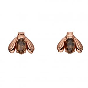 sterling silver rose gold plated smoky quartz bee stud earrings