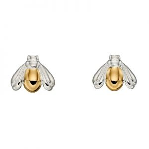 sterling silver and gold plated bee stud earrings