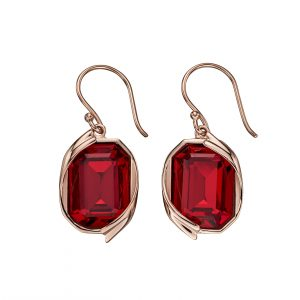 Rose Gold Plated Siam Red Swarovski Crystal Ribbon Effect Earrings