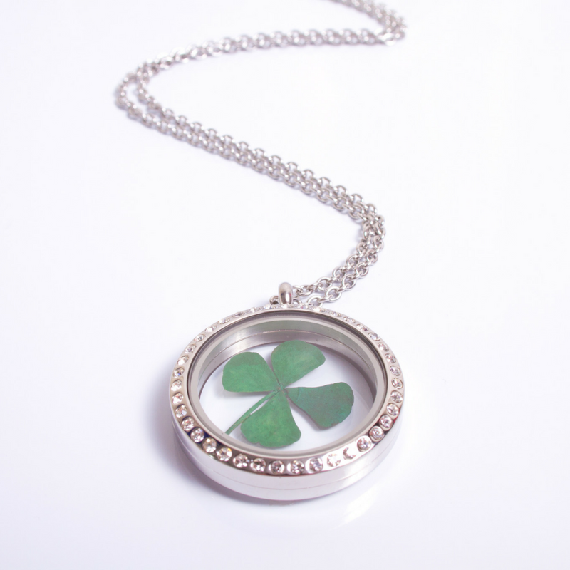 round silver Diamante four leaf clover lucky memory locket