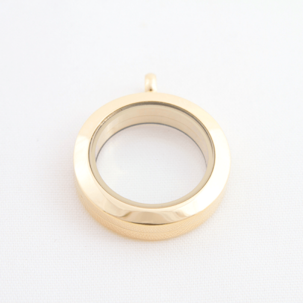 medium plain gold round memory locket