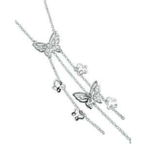 sterling silver cascading butterfly drop necklace