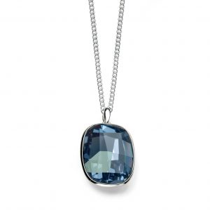 Sterling Silver Graphic Rectangle Stone Swarovski Crystal Pendant In Denim Blue