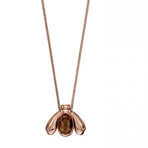 rose gold sterling silver smoky quartz bee pendant