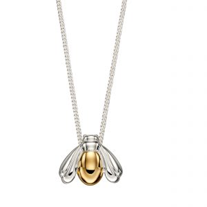 sterling silver and gold plated bee and honeycomb pendant