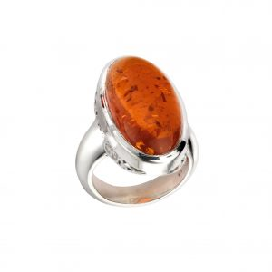 large sterling silver pressed amber oval ring