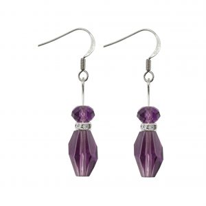 sterling silver amethyst polygon and briolette earrings