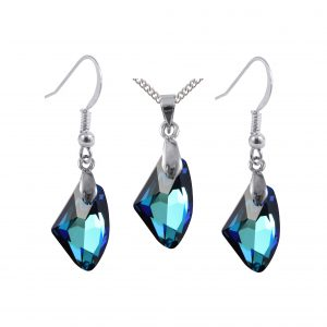bermuda blue galactic pendant and earrings set