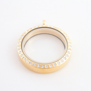 large gold diamanté round memory locket