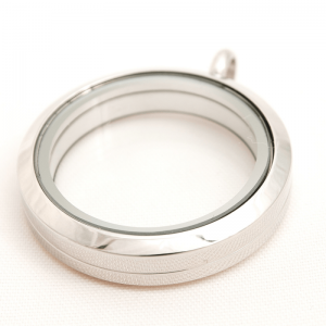 large plain silver round memory locket