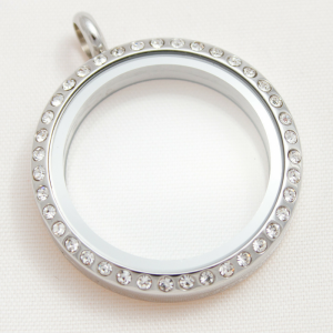 large round silver diamanté memory locket