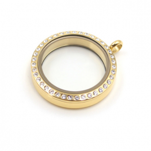medium gold round diamanté memory locket