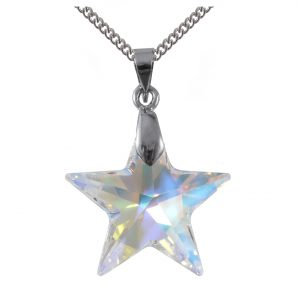 sterling silver swarovski crystal ab 20mm star pendant