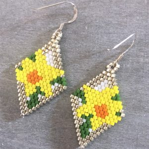 miyuki delica beaded daffodil flower earrings