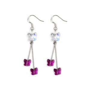swarovski crystal sterling silver crystal ab and pink butterfly double drop earrings