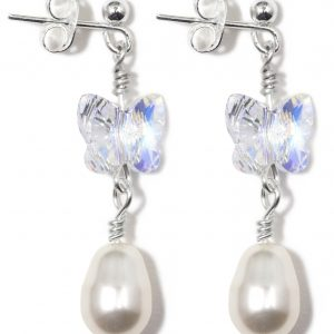 swarovski crystal ab butterfly and cream baroque pearl drop earrings