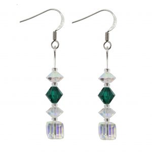swarovski crystal ab cube emerald green sterling silver earrings