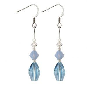 sterling silver aqua polygon and air blue opal swarovski crystal earrings