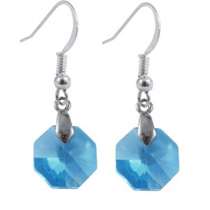 swarovski crystal aqua octagon sterling silver earrings