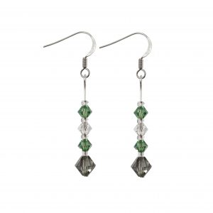 swarovski crystal clear erinite green and black diamond sterling silver earrings