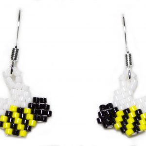 miyuki delica handwoven beaded bee dangle earrings