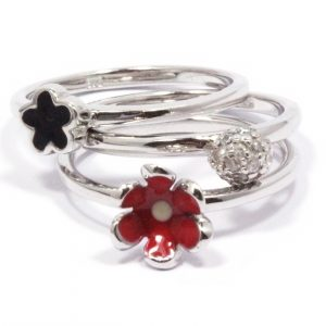 sterling silver red and black enamel flower stacking ring set
