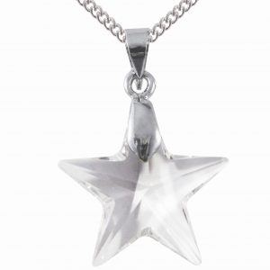 sterling silver swarovski crystal clear 20mm star pendant necklace