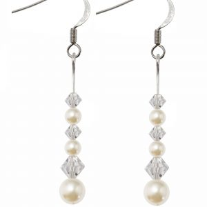 sterling silver swarovski crystal and cream pearl earrings