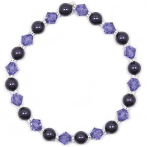 swarovski dark purple crystal pearl and tanzanite crystal bracelet