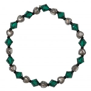 Swarovski Crystal Emerald Green Metal Puff Heart Bracelet