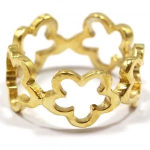 Sterling Silver Gold Vermeil Open Flower Band Style Ring