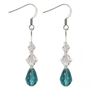 sterling silver swarovski crystal ab indicolite teardrop dangle earrings