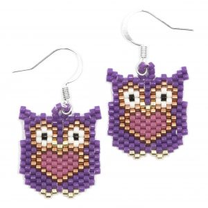 Miyuki Delica Purple and Pink Silver Owl Beaded Earrings