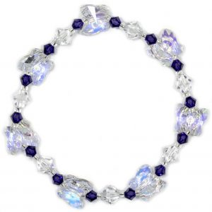 swarovski crystal ab butterfly and purple velvet handmade bracelet