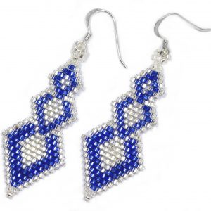 Blue and Silver Triple Rhombus Miyuki Beaded Silver Earrings