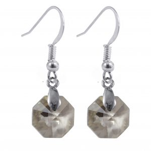 sterling silver swarovski crystal silver shade octagon earrings