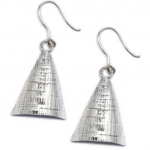 sterling silver textured triangle earrings