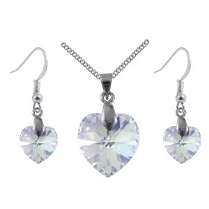 sterling silver swarovski crystal ab heart earrings and pendant set
