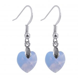 sterling silver swarovski crystal air blue opal heart earrings