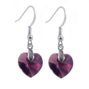 swarovski crystal amethyst purple sterling silver heart dangle earrings