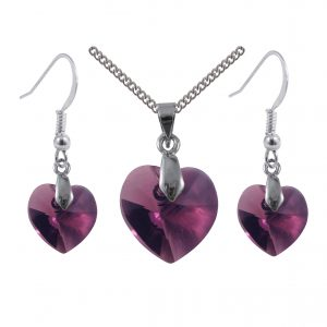 sterling silver swarovski crystal amethyst Purple Heart earring and pendant set
