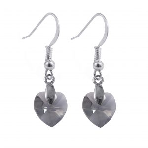 swarovski crystal sterling silver black diamond heart earrings