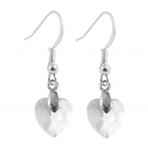 swarovski crystal clear sterling silver heart earrings
