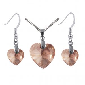 swarovski crystal golden shadow sterling silver heart earrings and pendant set