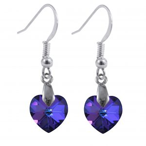 swarovski crystal heliotrope blue sterling silver heart dangle earrings